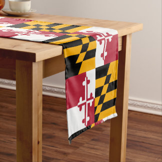 Dynamic Maryland State Flag Graphic on a Short Table Runner