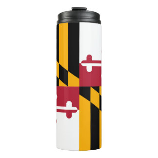 Dynamic Maryland State Flag Graphic on a Thermal Tumbler