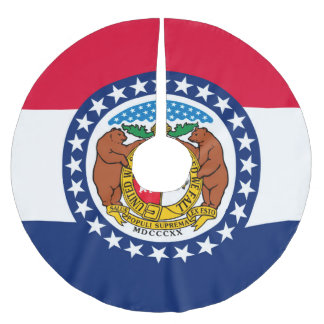 Dynamic Missouri State Flag Graphic on a Brushed Polyester Tree Skirt