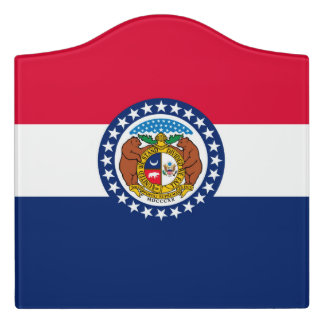 Dynamic Missouri State Flag Graphic on a Door Sign