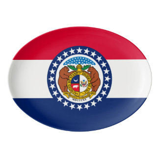 Dynamic Missouri State Flag Graphic on a Porcelain Serving Platter