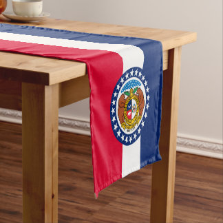 Dynamic Missouri State Flag Graphic on a Short Table Runner