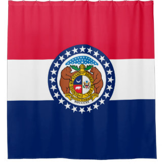 Dynamic Missouri State Flag Graphic on a Shower Curtain