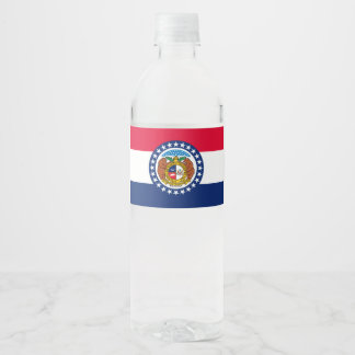 Dynamic Missouri State Flag Graphic on a Water Bottle Label