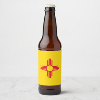 Dynamic New Mexico State Flag Graphic on a Beer Bottle Label