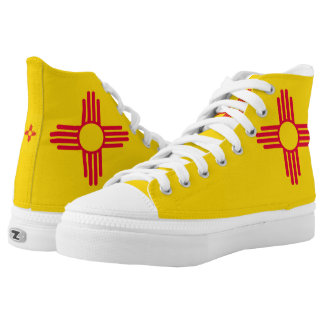 Dynamic New Mexico State Flag Graphic on a High Tops
