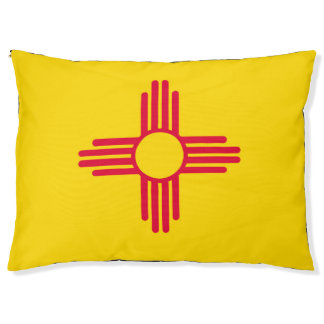 Dynamic New Mexico State Flag Graphic on a Pet Bed