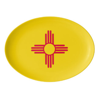 Dynamic New Mexico State Flag Graphic on a Porcelain Serving Platter