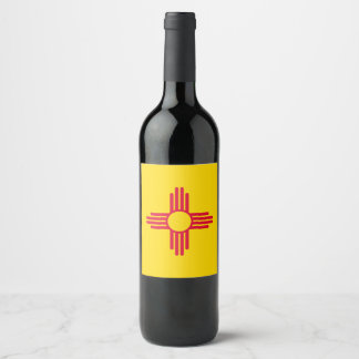 Dynamic New Mexico State Flag Graphic on a Wine Label