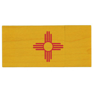 Dynamic New Mexico State Flag Graphic on a Wood USB Flash Drive