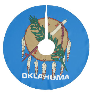 Dynamic Oklahoma State Flag Graphic on a Brushed Polyester Tree Skirt
