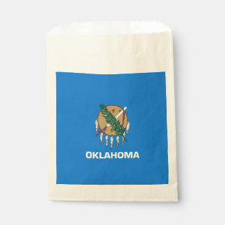 Dynamic Oklahoma State Flag Graphic on a Favour Bag