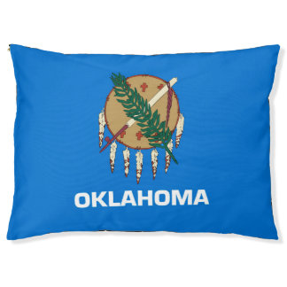 Dynamic Oklahoma State Flag Graphic on a Pet Bed