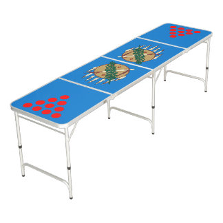Dynamic Oklahoma State Flag Graphic on a Pong Table