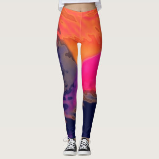 Dynamic Orange Pink Abstract - Leggings