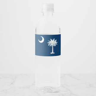 Dynamic South Carolina State Flag Graphic on a Water Bottle Label