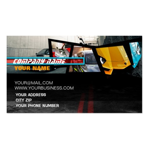Dynamic Super Car fragments Business Cards