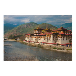 Dzong Building By River Wood Print