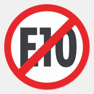 E10 boycott 3 round sticker