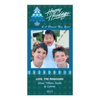 E1 Holiday Tree-Emerald Greeting Photo Cards