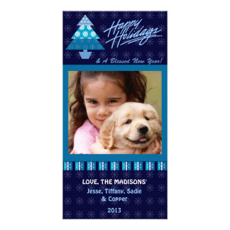 E1 Holiday Tree-Royal Greeting Photo Cards