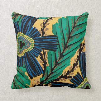 E.A. Séguy Art Deco Art Nouveau Blue Flowers Cushion