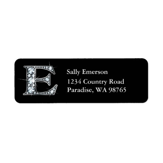 """""""E"""" Diamond Bling Monogram Return Address Label"""