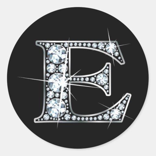 """""""E"""" Faux-""""Diamond Bling"""" Sticker"""