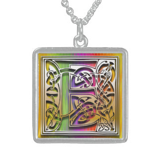 E Initial Monogram Celtic Rainbow Necklace Custom Jewelry