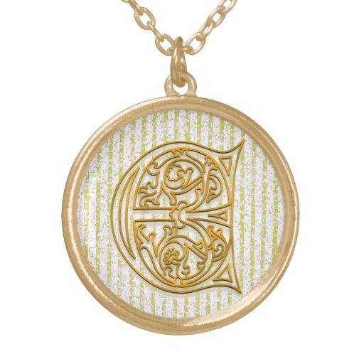 """E Initial Monogram """"Gold Pin Stripe"""" Necklace Necklace"""