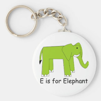 E is for Elephant Basic Round Button Key Ring