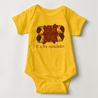 E is for Enchiladas Cheese Enchilada Food Initial Baby Bodysuit