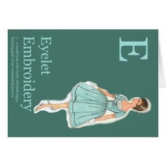 E is for Eyelet Fashion Alphabet Card