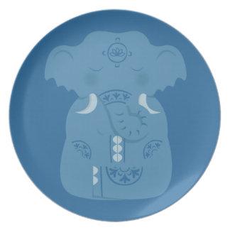 E is for namasté Elephant Dinner Plates