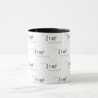 E=mc2 formula pattern, physics relativity theory mug