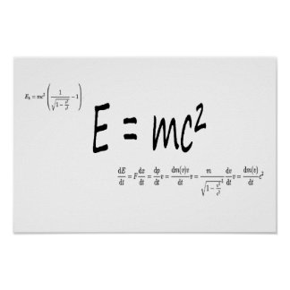 E=mc2 formula, physics relativity theory poster