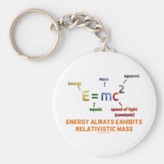 E=mc^2 Energy Always Exhibits Relativistic Mass Basic Round Button Key Ring