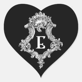 E Monogram Initial Heart Sticker
