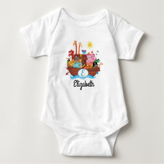 E Monogram Noah's Ark Personalized Baby T-shirt