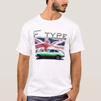 E type Jaguar on UK flag Background T-Shirt