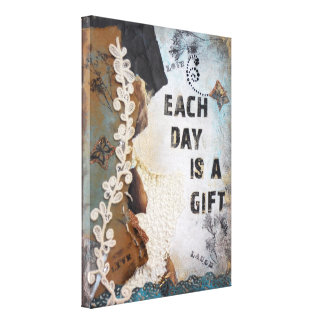 Each Day Is A Gift Wrapped Canvas Print