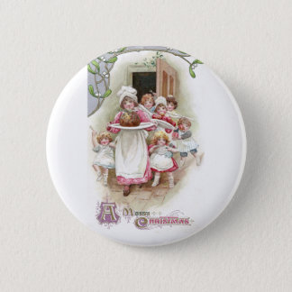 Eager for Plum Pudding Vintage Christmas 6 Cm Round Badge