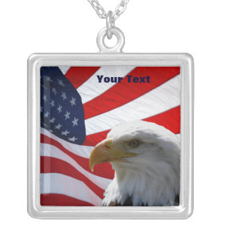 Eagle & American Flag Silver Necklace Custom Necklace