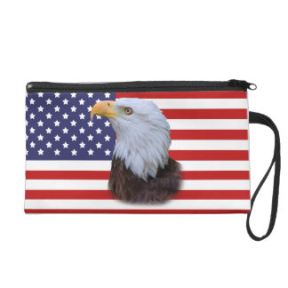 Eagle and American Flag Wristlet Purses