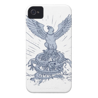 Eagle and Dragon Mountains Drawing iPhone 4 Case-Mate Case