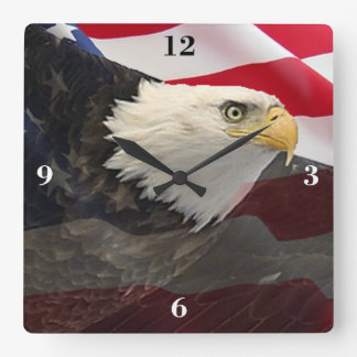 Eagle and Flag Square Wall Clock