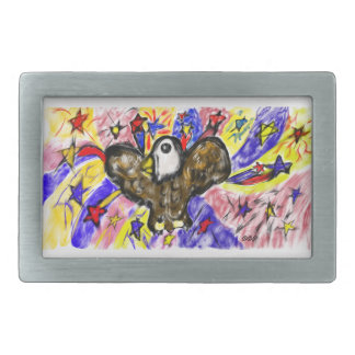 eagle art three rectangular belt buckle