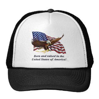 eagle, born and raised in usa cap