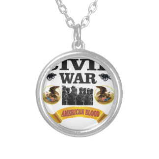 eagle civil war art silver plated necklace
