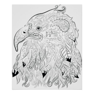 Eagle drawing adult colouring poster